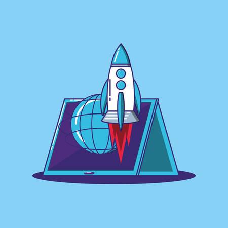 rocket and tablet over blue background, colorful design. vector illustration