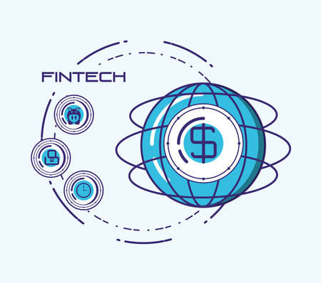 Fintech concept with global sphere and related icons around over blue background, vector illustration