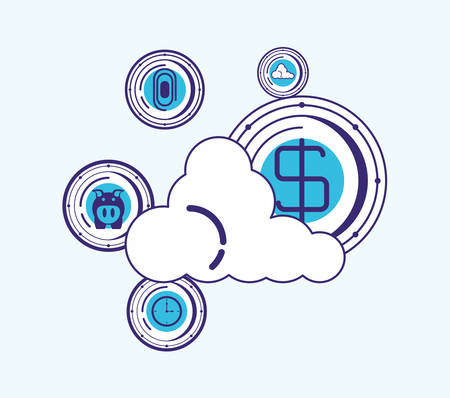cloud storage with financial technology related icons over blue background, vector illustration Illustration