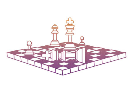 chessboard with pieces and checkmate over white background, colorful design. vector illustration Vettoriali