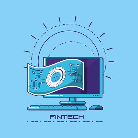 Fintech concept with computer and money bill over blue background, vector illustration