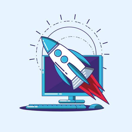 Fintech design with computer and rocket over blue background, colorful design. vector illustration Illustration