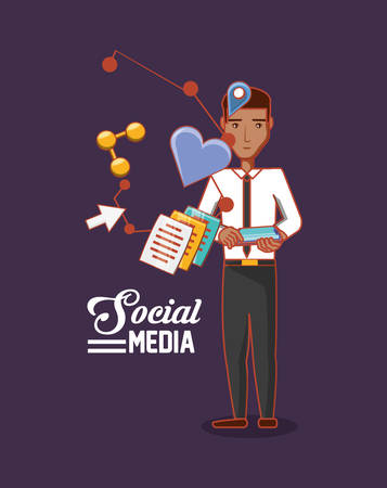 cartoon businessman standing with social media related icons over purple background, colorful design. vector illustration