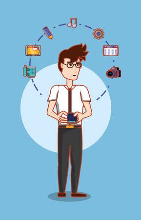 cartoon businessman standing with social media related icons over blue background, colorful design. vector illustration