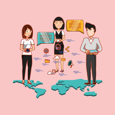 cartoon people standing with speech bubbles and social media related icons over pink background, colorful design. vector illustration Illustration