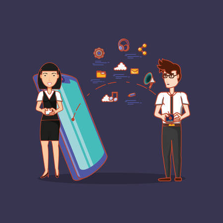 cartoon woman and man with cellphone and social media related icons over purple background, colorful design. vector illustration