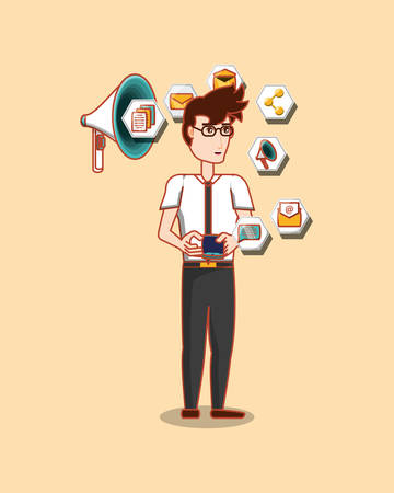 cartoon businessman standing with social media related icons over orange background, colorful design. vector illustration