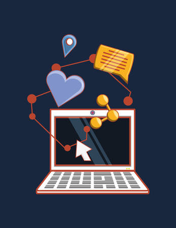 laptop computer with social media related icons over blue background, colorful design. vector illustration