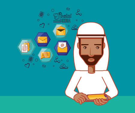 arabic man with social media related icons over blue background, colorful design. vector ilustration Illustration