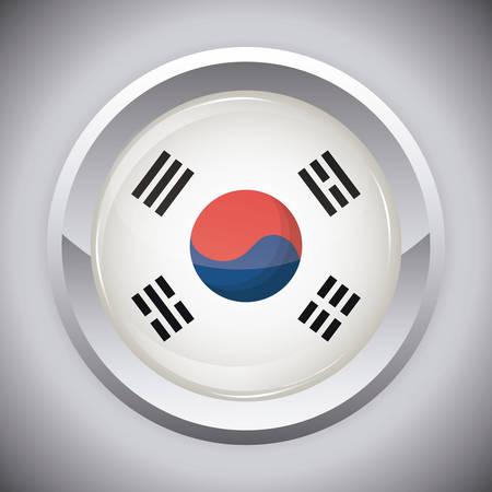 button with south korea flag over background, colorful design. vector illustration Illustration