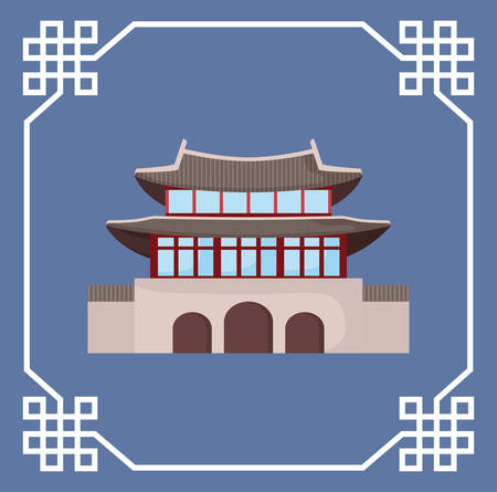 decorative frame with south korea traditional iconic building icon over blue background, colorful design. vector illustration