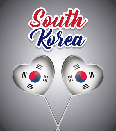 south korea design with decorative balloons in heart shape over gray background, colorful design. vector illustration