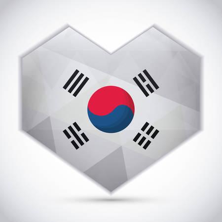 south korea flag in heart shape over white background, colorful design. vector illustraiton Illustration