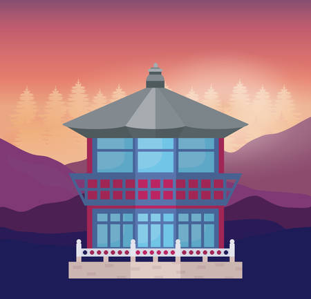 South korea design with traditional and iconic building over landscape background, colorful design. vector illustration
