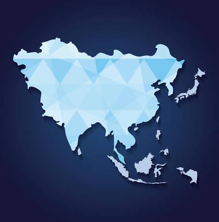 asia map over blue background, colorful design. vector illustration Illustration