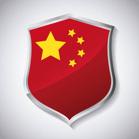 shield with china flag design over white background, colorful design. vector illustration Çizim