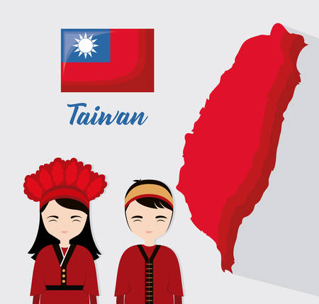 taiwan design with taiwanese cartoon man and woman over gray background, colorful design. vector illustration Ilustração