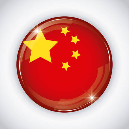 button with china flag design over background, colorful design. vector illustration  イラスト・ベクター素材