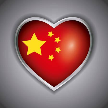 china flag in heart shape design over gray background, colorful design. vector illustration Illusztráció