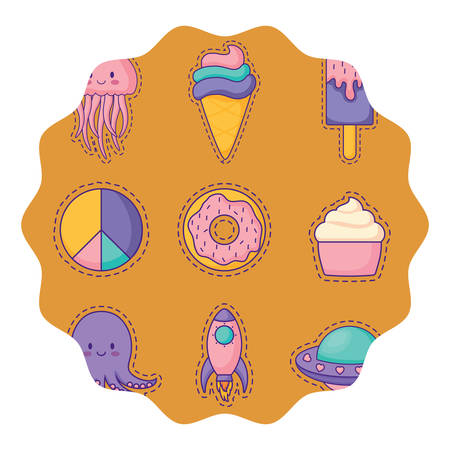circular frame with donuts and ice creams pattern over white background, colorful design. vector illustration