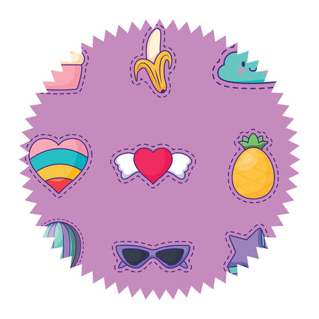 seal stamp with fruits and hearts pattern over white background, colorful design. vector illustration