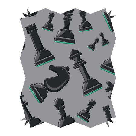 abstract frame with chess pieces design over white background, vector illustration