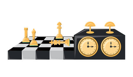 chessboard and clock over white background, vector illustration
