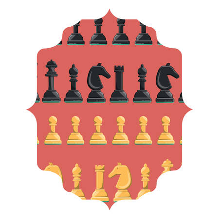 arabic frame with chess pieces design over white background, vector illustration