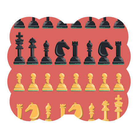 decorative frame with chess pieces pattern over white background, vector illustration Illustration
