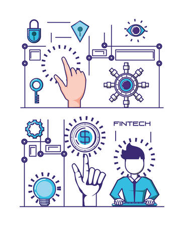 financial technology set icons vector illustration design Vettoriali