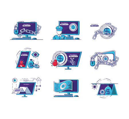 financial technology set icons vector illustration design 向量圖像