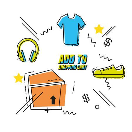 shopping online pop art set icons vector illustration design Vectores