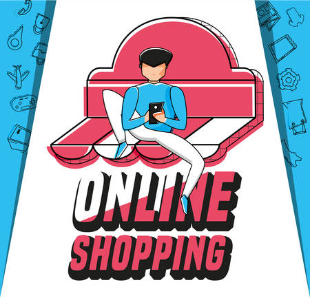 character man with shopping online icons vector illustration design Illustration