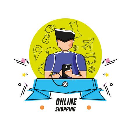 character man with shopping online icons vector illustration design 向量圖像