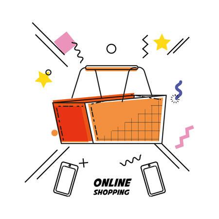 shopping basket buy online icon vector illustration design