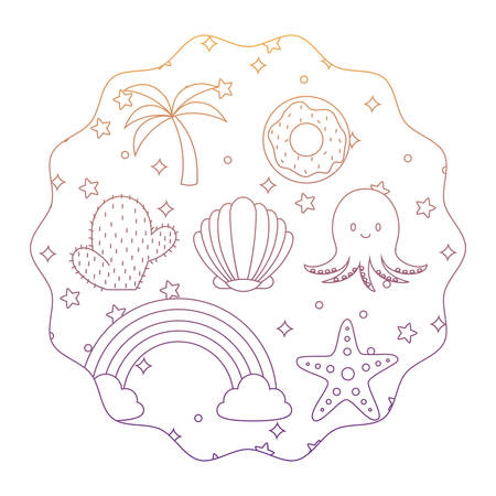 circular frame with cute octopus and related icons pattern over white background, vector illustration Illustration
