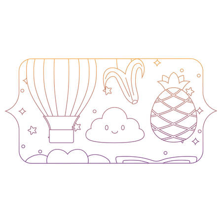 banner with clouds and fruits pattern over white background, vector illustration