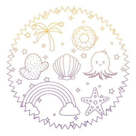 seal stamp with cute octopus and related icons pattern over white background, vector illustration Illustration