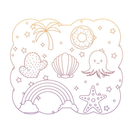 decorative frame with cute octopus and related icons pattern over white background, vector illustration