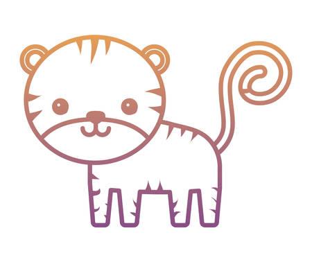 cute tiger icon over white background, colorful design. vector illustration