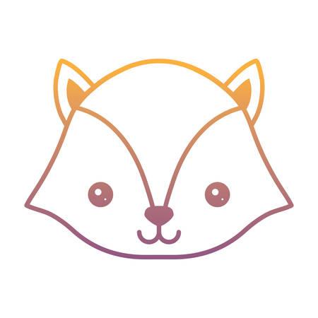 cute fox icon over white background, colorful design. vector illustration