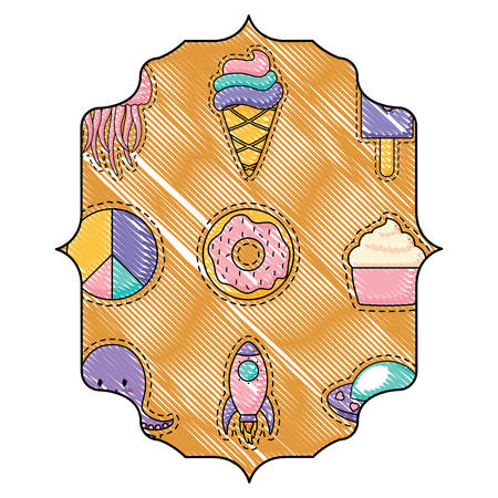 arabic frame with ice creams and donuts pattern over white background, vector illustration