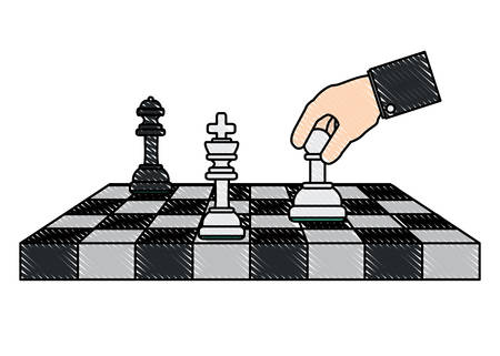chessboard with pieces and hand holding a pawn over white background, vector illustration