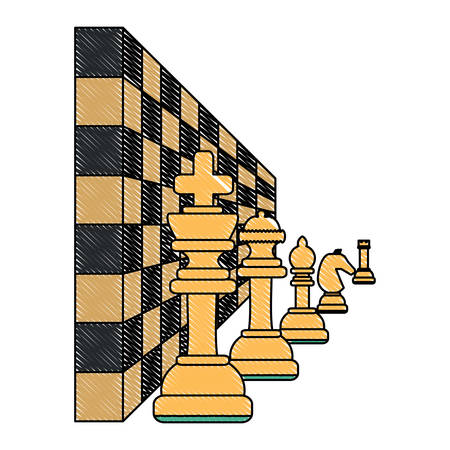 chess pieces and chessboard over white background, vector illustration Ilustração