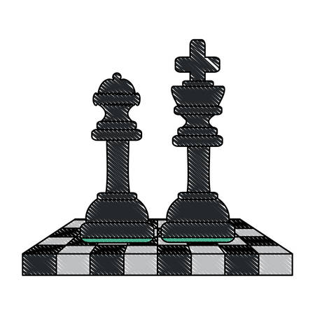 chessboard with king and queen over white background, vector illustration