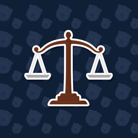 law scale icon over blue background, colorful design. vector illustration
