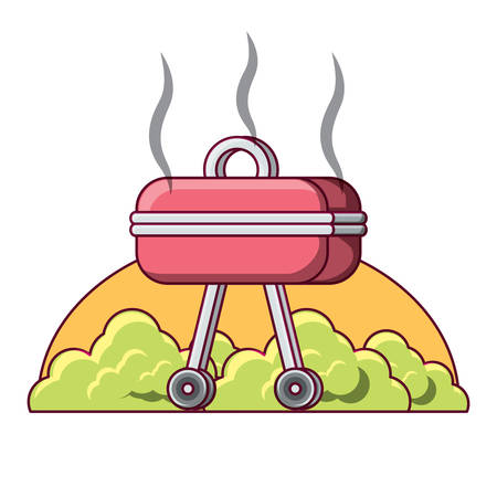 bbq grill icon over white background, vector illustration  イラスト・ベクター素材