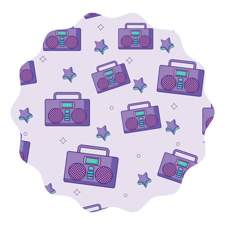 circular frame with Boombox stereo and stars pattern over white background, vector illustration Illustration