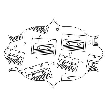 arabic frame with Cassette pattern over white background, vector illustration