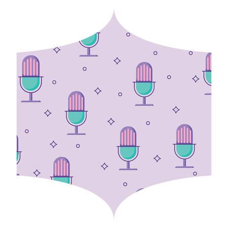 decorative frame with retro microphone pattern, vector illustration Ilustração